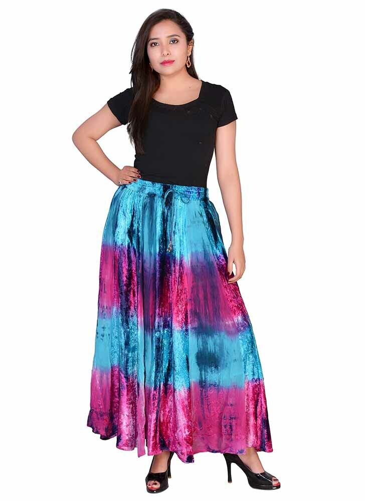 Jordash Skirt Turquoise And Pink Tie Dye Elasticated Tie Waist Long Length L-XL