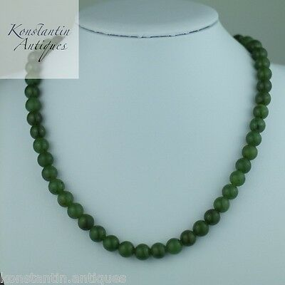 Vintage green Jade beads necklace with silver clasp great wedding gift