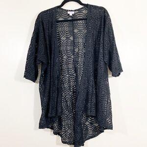Lularoe-taglia-S-da-Donna-Solid-Black-Shirley-kimono-in-pizzo-velato-Ritaglio-aperto-sul-davanti