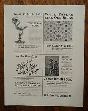 AUTHENTIC ANTIQUE 1902 PRINTED DOUBLE SIDED ADVERT SHEET - MURANO GLASS / SPINK