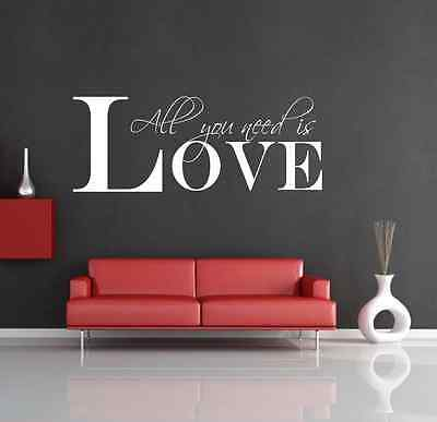 ALL YOU NEED IS LOVE   Wall Art Sticker Quote Decal