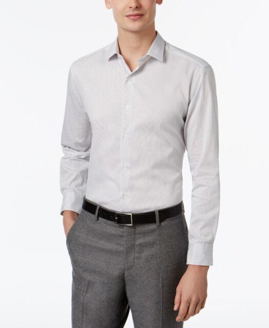 Suncolor8 Men Button Down Long Sleeve Slim Fit Business Plaid Print Dress Shirts