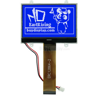 "1.8/""Blue 128x64 Graphic LCD Module Display Serial,ST7565P w//Tutorial,Connector"