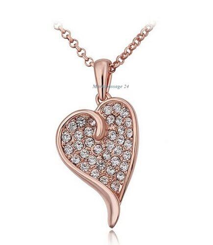 Pendentif en Forme de Coeur Zircon Collier Rolokette or Rose Cœur Cadeau Femmes