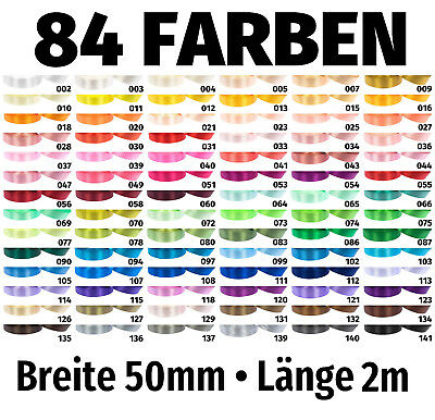 GemäßIgt Geschenkband 2m X 50mm €0,995/m Satinband Schleife Band Dekoband Deko 84 Farben