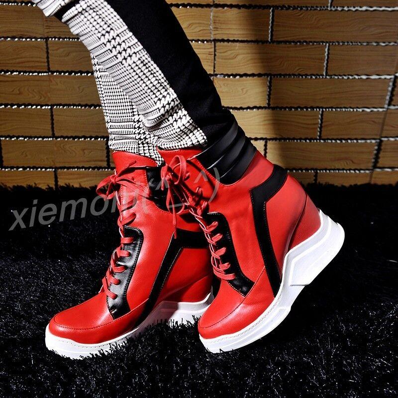 Womens Platform Hidden Wedge Sneaker Ankle Boot Sport shoes Lace Up Pump Plus Sz