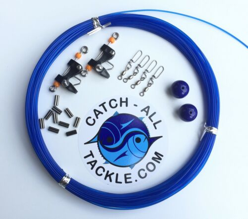 Catch All Tackle Outrigger Rigging Kit-Line boules Snaps clips /& Sertissage Bleu
