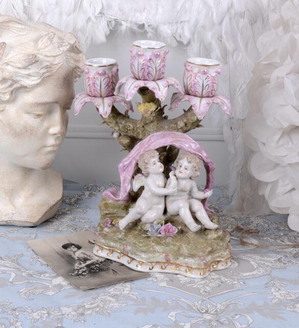 ZWEI KERZENLEUCHTER Barock Porzellanleuchter ENGEL LEUCHTER Kerzenhalter Antik