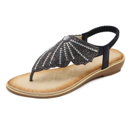 Womens Boho Diamante Butterfly Thong Elasticated Slingback Strap Sandals Shoes