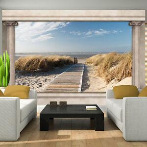 Papier Tapete Fototapeten Ausblick Fenster Strand Sand Meer Natur