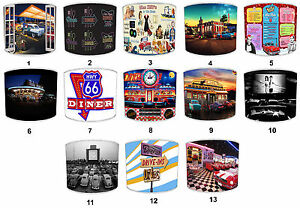 Lampshades Ideal To Match American Diner Drive Through Wall Art & Metal Signs.