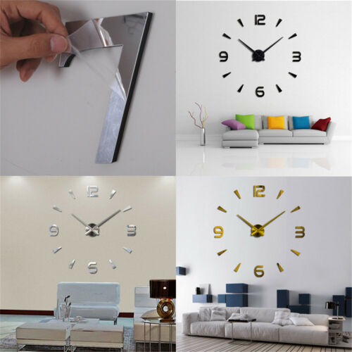 ular 3D Large  Mirror Surface Wall Clock Sticker Home Officerf Deko