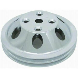 SBC-Water-Pump-Pulley-Polished-Aluminum-V8-Double-Groove-LWP-RPC-R9483POL-Chevy