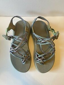 Chaco Sandals Shoes Women Size 10 Purple Gray Strappy Toe Wet Dry Triple Strap