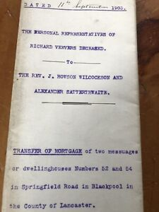 Antique 1904 Legal Document Frameable Springfield Road Blackpool Crafts Crafting