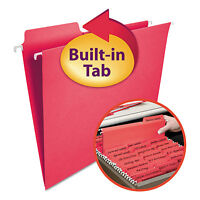 Smead Fastab Hanging File Folders Letter Red 20/box 64096 on sale