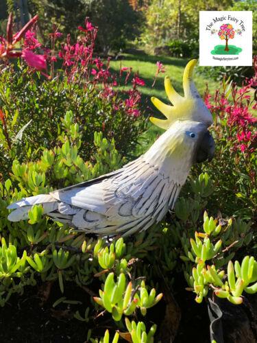 Rustic metal cocky cockatoo garden sculpture decor bird ornament Australia