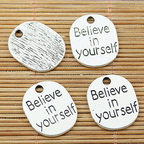 26pcs Tibetan silver believe in yourself oval charms EF1679