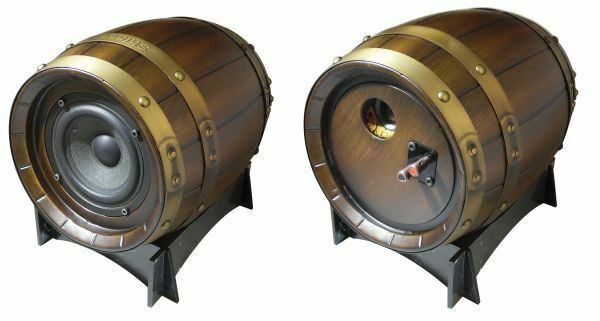 Speakers Acoustic Passive 100W in Wood with Inserts Metal In Barrel Shape