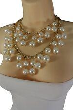 Women Gold Metal Chain Necklace Jewelry 2 Strand Big Cream Imitation Pearl Beads