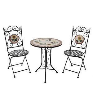 Set Mosaik Garnitur Tisch U 2 Stuhle Mosaiktisch Gartentisch
