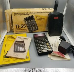 Vintage-Texas-Instruments-TI-55-Calculator-w-Box-Charger-Manual-Case-Sourcebook