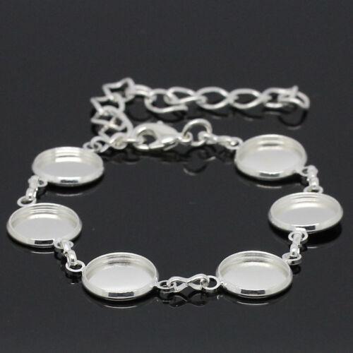 2 Bracelets Charm Support Cabochon Rond Fermoir Mousqueton Argenté 25cm B28327