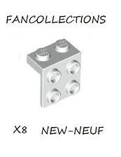 LEGO-X8 White Bracket 1 x 2 - 2 x 2 , 44728  NEUF