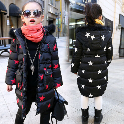 Girls Winter Coat Kid Hooded Fur Collar Long Jacket Thick Warm Outerwear Stars V