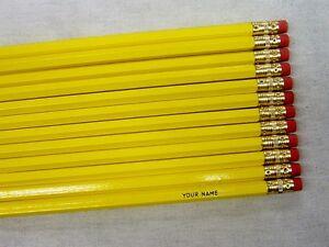 "12 Hexagon /""Creme/"" Personalized Pencils"