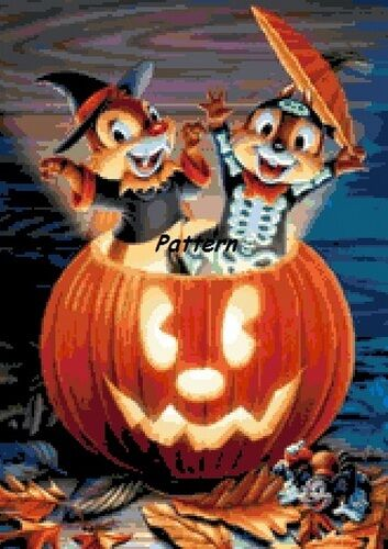 Chip /& Dale Halloween Cross Stitch Pattern Paper version or PDF files.