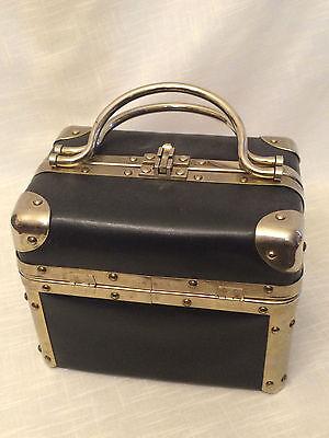 Delill Tapestry Box Purse Black Leather Handbag Gold Metal Trim Train Case Lined
