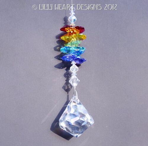 m//w  Swarivski Crystal Dreidel Chakra Octagons Sun Catcher Lilli Heart Designs