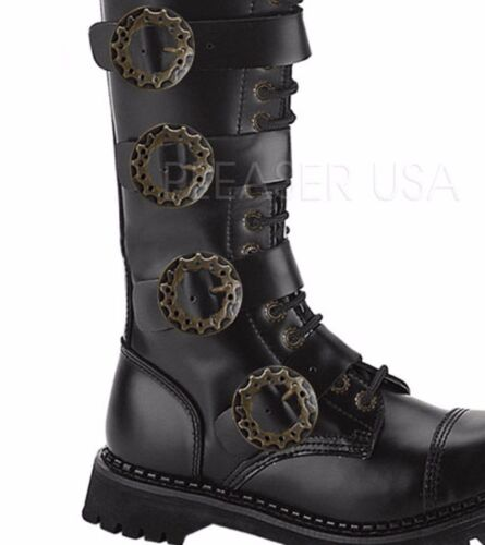 Combat Leather Steampunk Calf Steam Boots Black Demonia Eyelet Unisex Strap 20 q7wz0UPx0n