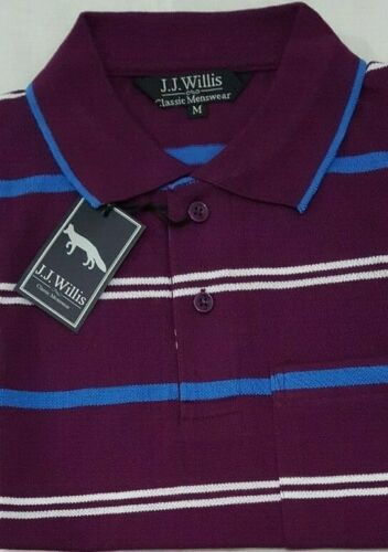 Mens Polo Shirts Striped stripe Pique Short Sleeve Collared Tee T Shirt M L XL 2