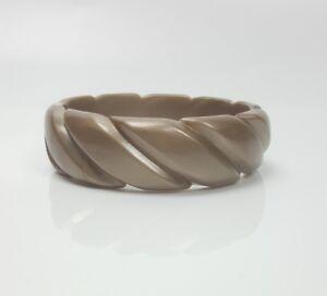 Vintage plastic bangle bracelet metallic beige with molded rope twist design