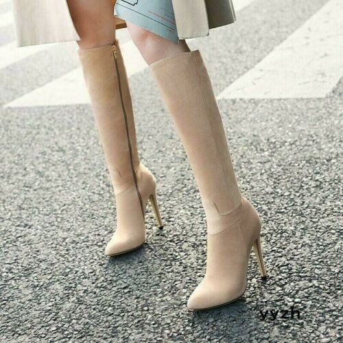 Winter Womens Suede Mid Calf Knee High Heels Stilettos Boots Pointed Toe Shoes