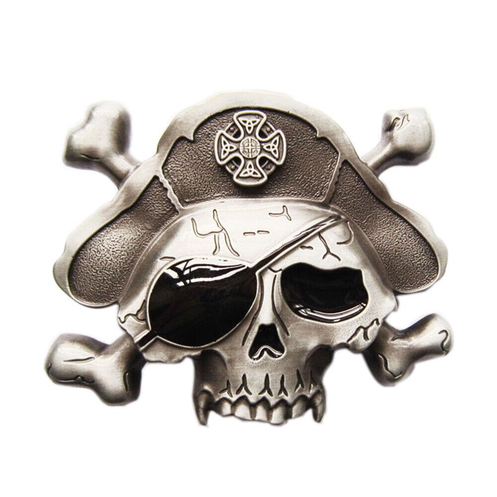 Pirate Skull I Gürtelschnalle Skulls Pirat Piraten Gekreuzte Säbel Augenklappe