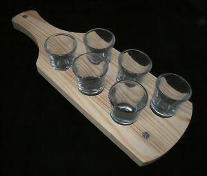 Masonic Flower Set Of 6 Shot Glasses With Wooden Paddle Tray Holder Gift Atnjfdnm-08012402-451948156