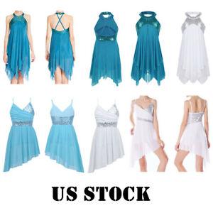US-Girls-Lyrical-Dance-Dress-Ballet-Sequins-Leotard-Tutu-Skirt-Dancewear-Costume