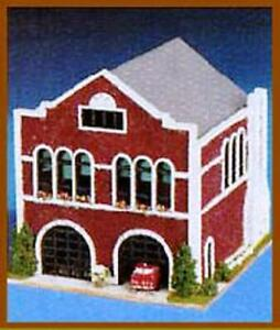 Dollhouse-Miniature-Old-Time-Firehouse-Fire-Station-Kit-1-144-Scale
