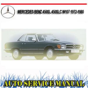 mercedes benz 450sl 450slc w107 1972 1980 service repair manual rh ebay com 1970 Mercedes 450SL 1989 Mercedes 450SL
