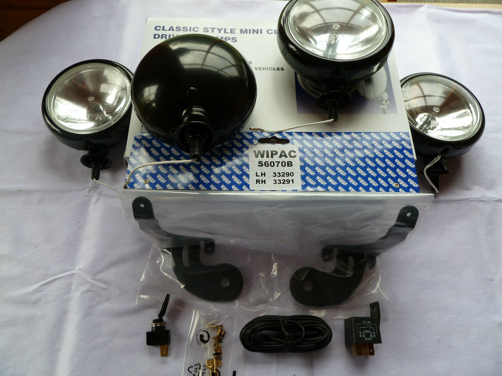 4 BMW MINI SPOT LIGHTS DRIVING LAMPS (2 PAIRS) AUXILARY LAMPS FULL KIT 2001 2007