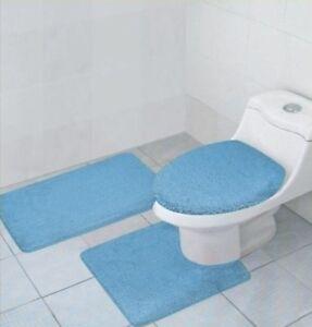 3 Pcs Bathroom Rug Contour Rug And Lid Cover Set Hailey Non Skid Light Blue Ebay