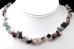 9e4b07b44da0 Das Bild wird geladen Halskette-Splitterkette-Edelsteine-Natur-Turmalin -Gruen-Rosa-Mineral-