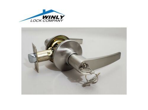 WINLY Entry Key Lock Set Straight Lever Door Satin Nickel Handle Stainless Knob