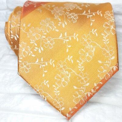 Prezzo Basso Cravatta Uomo Fiori Arancione Seta Pura Top Quality Made In Italy