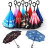 Parasols Sky Folding Sun Rain Windproof Umbrella Double Layer Inverted Reverse