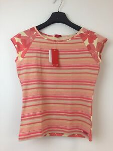 N194-Elle-Women-039-s-Peach-Pink-Floral-Stripe-Top-T-Shirt-Size-M-New-With-Tags