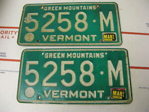 1985-85-Vermont-VT-License-Plate-5258M-Green-Mountains-Pair